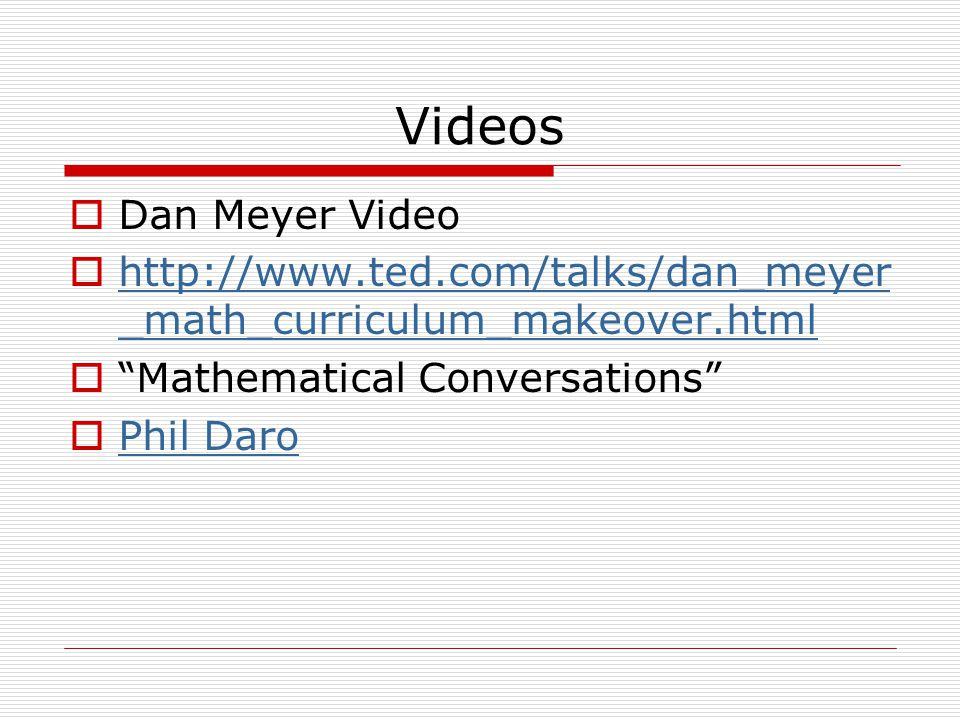 Videos  Dan Meyer Video  http://www.ted.com/talks/dan_meyer _math_curriculum_makeover.html http://www.ted.com/talks/dan_meyer _math_curriculum_makeo
