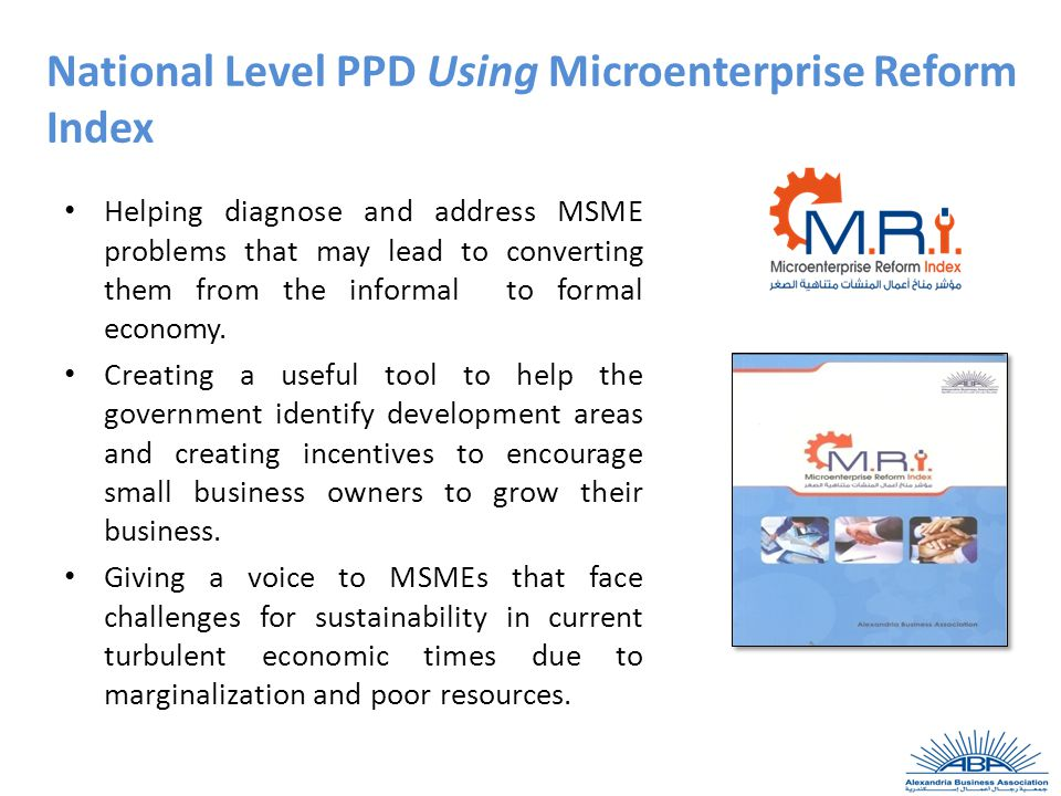 National Level PPD Using Microenterprise Reform Index Helping diagnose and address MSME problems that may lead to converting them from the informal to formal economy.