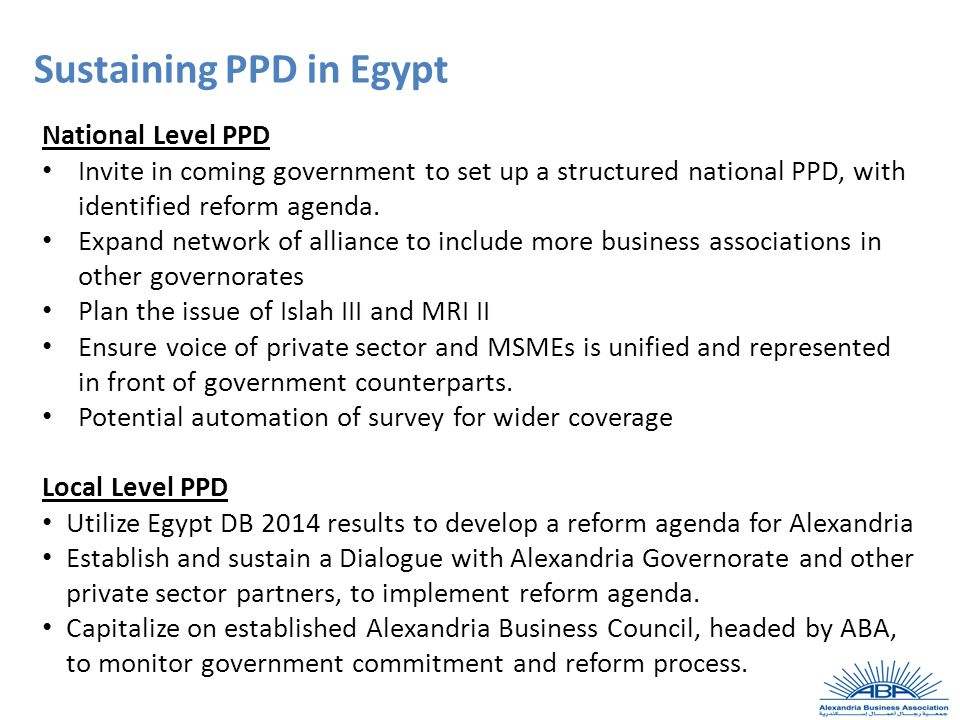 National Level PPD Invite in coming government to set up a structured national PPD, with identified reform agenda.