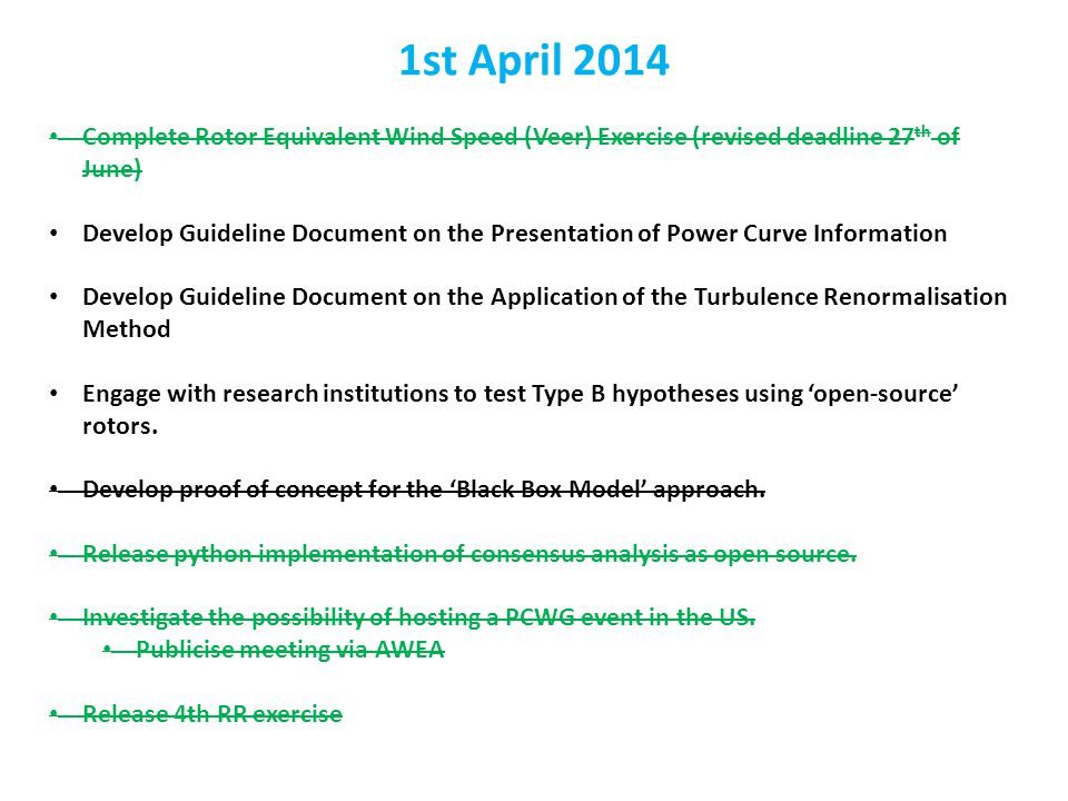 Complete Rotor Equivalent Wind Speed (Veer) Exercise (revised deadline 27 th of June) Develop Guideline Document on the Presentation of Power Curve In
