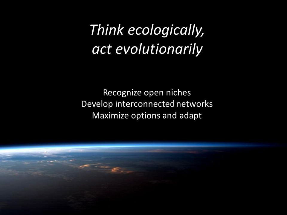 Think ecologically, act evolutionarily Recognize open niches Develop interconnected networks Maximize options and adapt