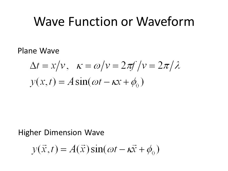 Wave Function or Waveform Plane Wave Higher Dimension Wave
