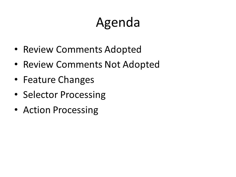 Agenda Review Comments Adopted Review Comments Not Adopted Feature Changes Selector Processing Action Processing