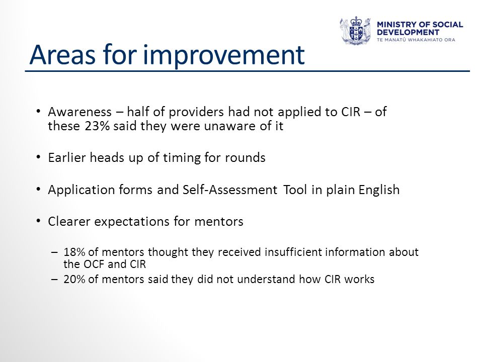 Areas for improvement Awareness – half of providers had not applied to CIR – of these 23% said they were unaware of it Earlier heads up of timing for rounds Application forms and Self-Assessment Tool in plain English Clearer expectations for mentors ─18% of mentors thought they received insufficient information about the OCF and CIR ─20% of mentors said they did not understand how CIR works