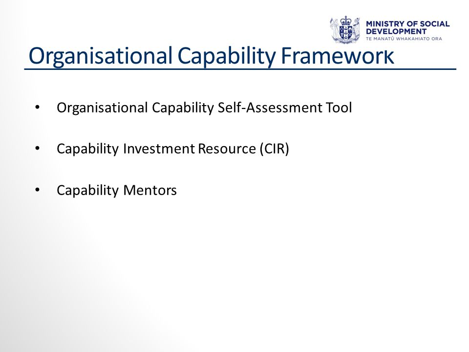 Organisational Capability Framework Organisational Capability Self-Assessment Tool Capability Investment Resource (CIR) Capability Mentors