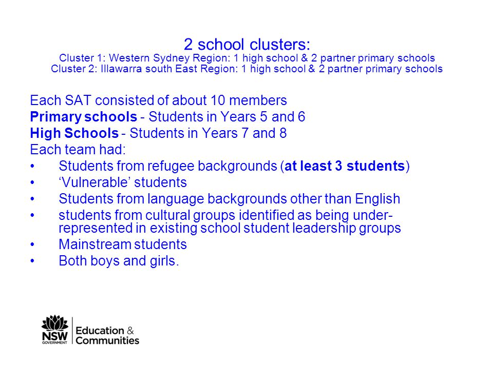 2 school clusters: Cluster 1: Western Sydney Region: 1 high school & 2 partner primary schools Cluster 2: Illawarra south East Region: 1 high school & 2 partner primary schools Each SAT consisted of about 10 members Primary schools - Students in Years 5 and 6 High Schools - Students in Years 7 and 8 Each team had: Students from refugee backgrounds (at least 3 students) 'Vulnerable' students Students from language backgrounds other than English students from cultural groups identified as being under- represented in existing school student leadership groups Mainstream students Both boys and girls.