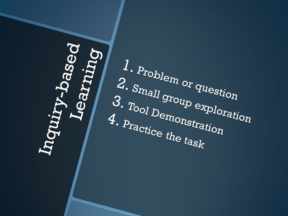 Inquiry-based Learning 1. Problem or question 2. Small group exploration 3.