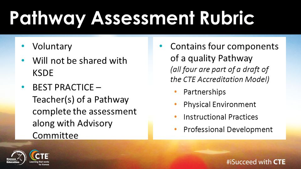 Pathway Assessment Rubric Voluntary Will not be shared with KSDE BEST PRACTICE – Teacher(s) of a Pathway complete the assessment along with Advisory C