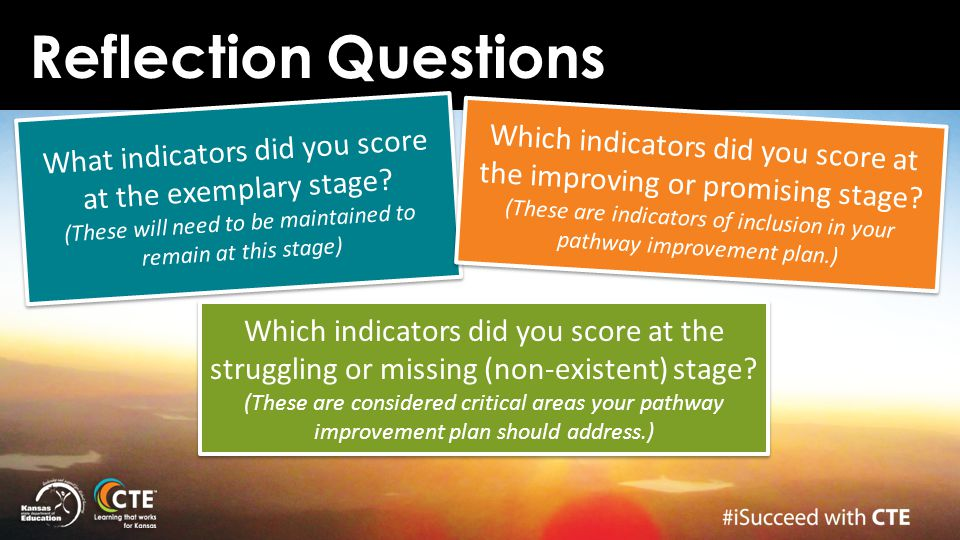 Reflection Questions What indicators did you score at the exemplary stage? (These will need to be maintained to remain at this stage) Which indicators