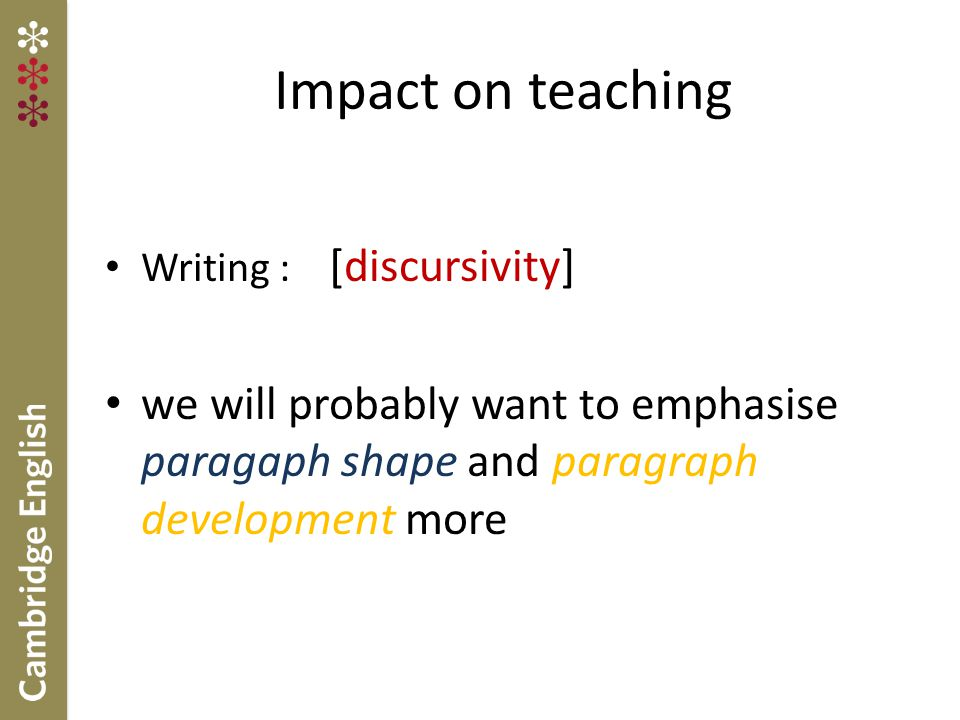Impact on teaching Writing : [discursivity] we will probably want to emphasise paragaph shape and paragraph development more