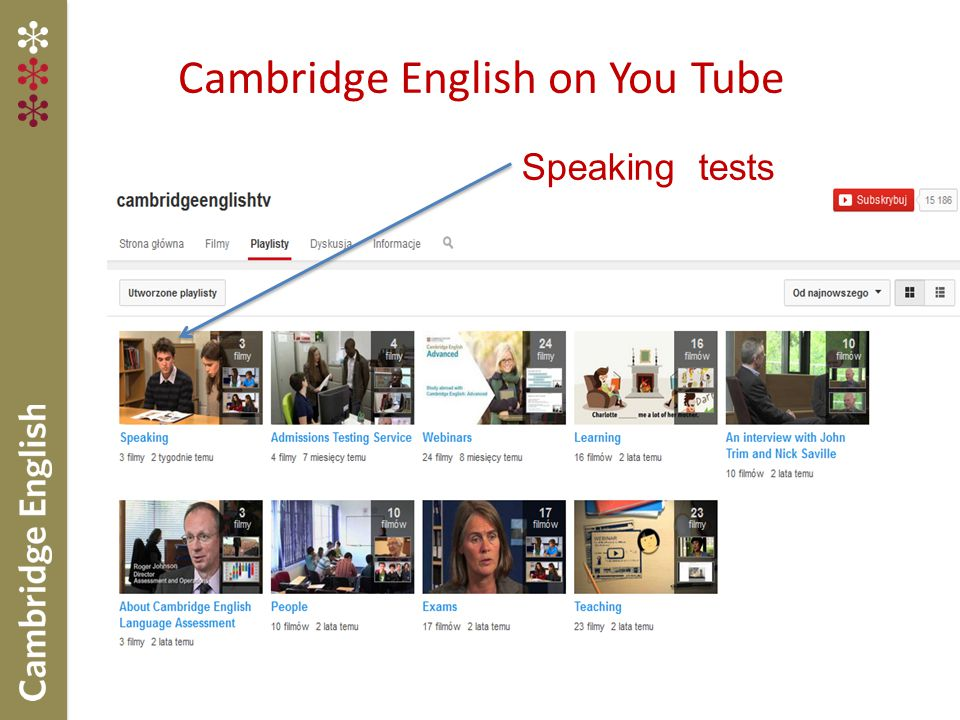 Cambridge English on You Tube Speaking tests