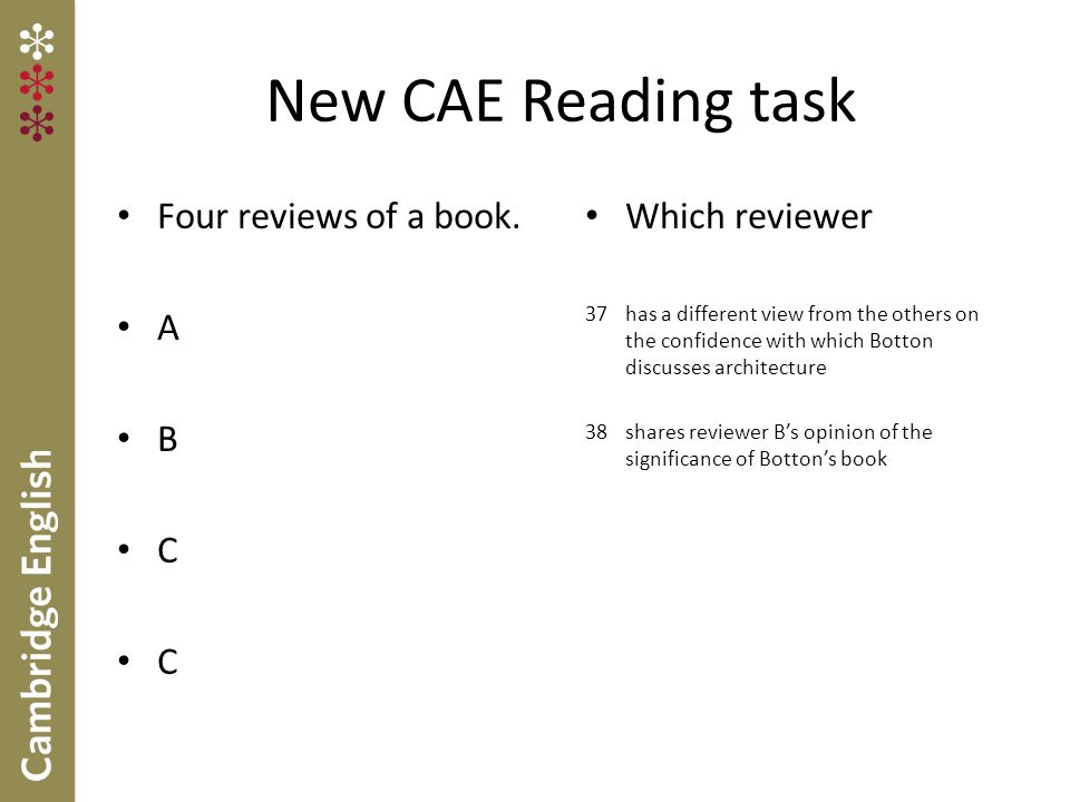 FCE(fS) and CAE Writing Summary of main changes both FCE(fS) and CAE to include new compulsory essay in Part 1 FCEfS to include a modified 'story' task in Part 2, while the 'report' as an output text type has been dropped.