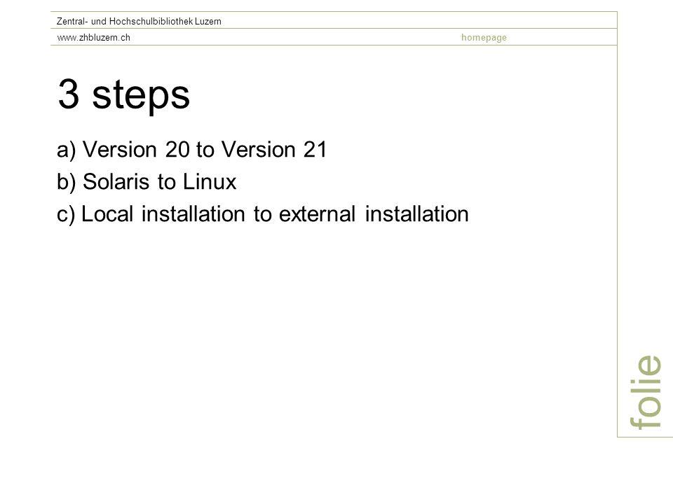 3 steps a) Version 20 to Version 21 b) Solaris to Linux c) Local installation to external installation folie Zentral- und Hochschulbibliothek Luzern www.zhbluzern.chhomepage