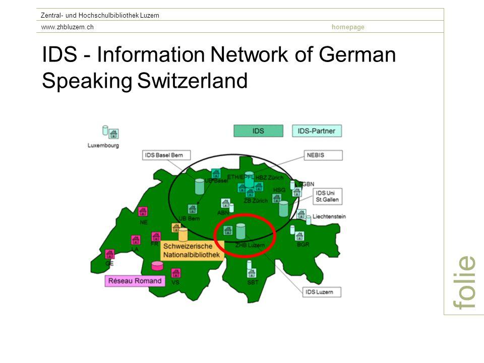 IDS - Information Network of German Speaking Switzerland folie Zentral- und Hochschulbibliothek Luzern www.zhbluzern.chhomepage