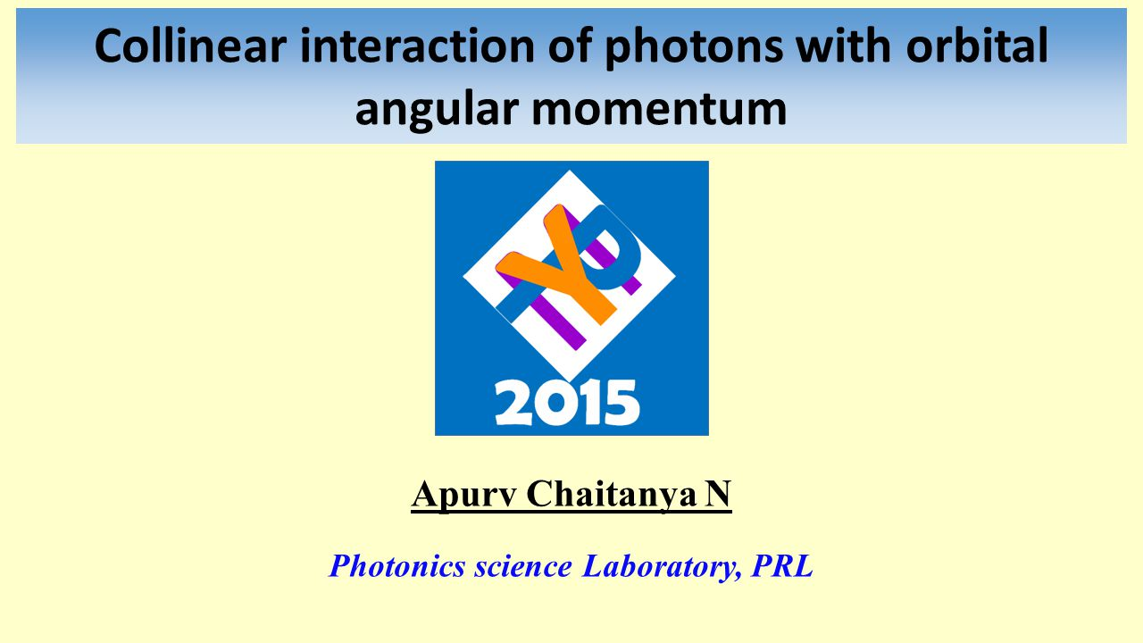 Collinear interaction of photons with orbital angular momentum Apurv Chaitanya N Photonics science Laboratory, PRL