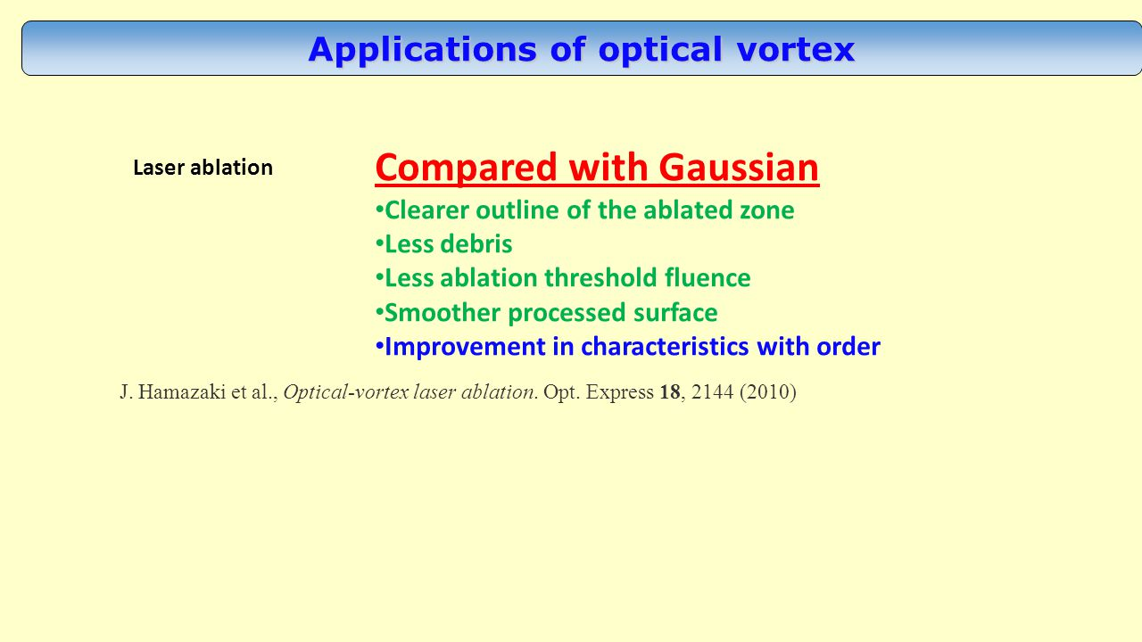 Applications of optical vortex Laser ablation J. Hamazaki et al., Optical-vortex laser ablation.