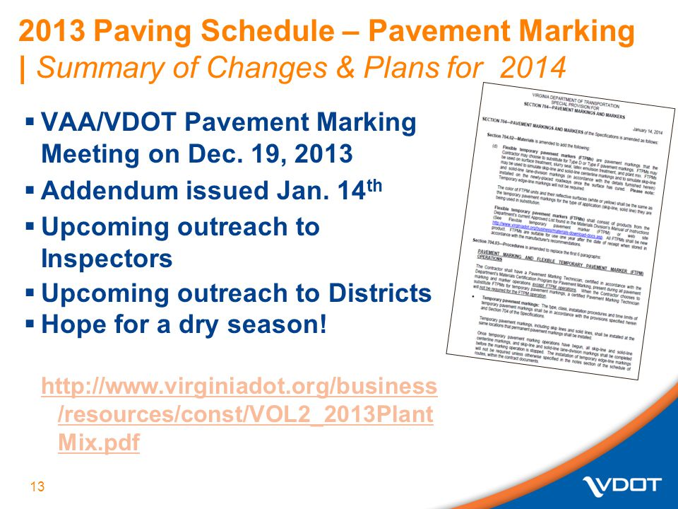 2013 Paving Schedule – Pavement Marking | Summary of Changes & Plans for 2014  VAA/VDOT Pavement Marking Meeting on Dec.