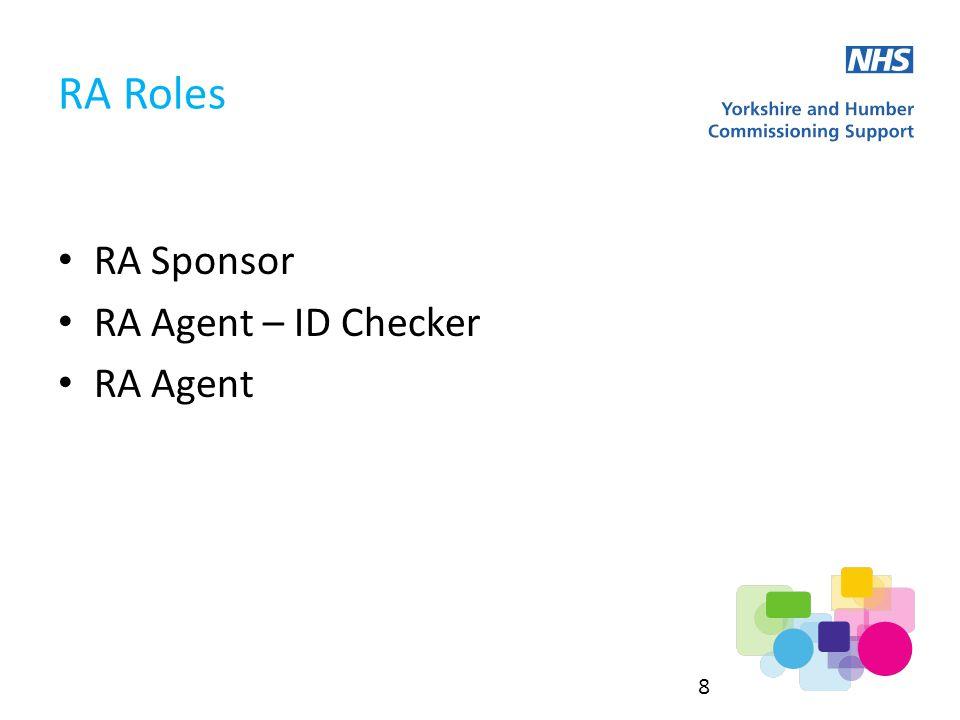 RA Sponsor RA Agent – ID Checker RA Agent RA Roles 8