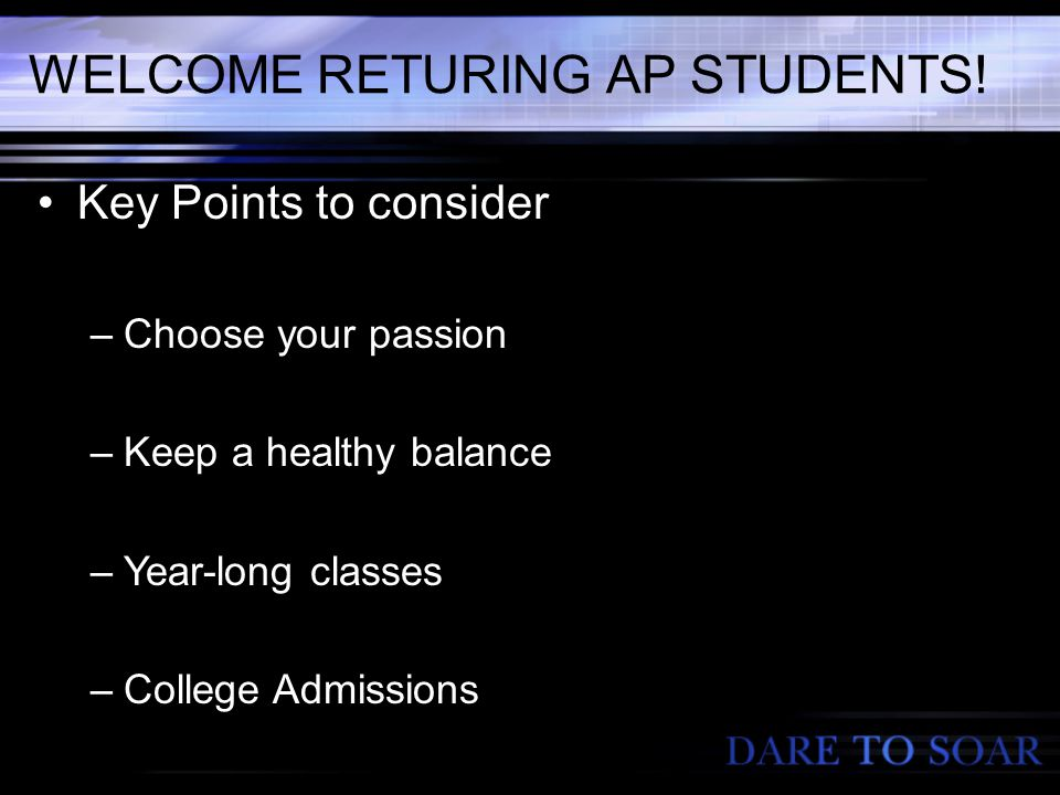 WELCOME RETURING AP STUDENTS.