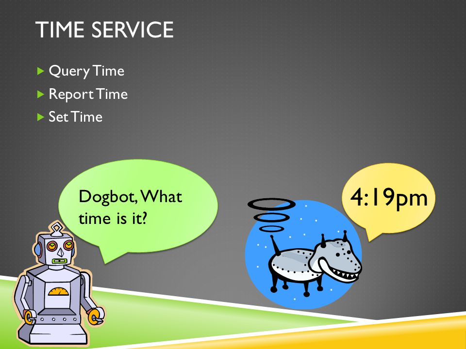 TIME SERVICE  Query Time  Report Time  Set Time Dogbot, What time is it? 4:19pm