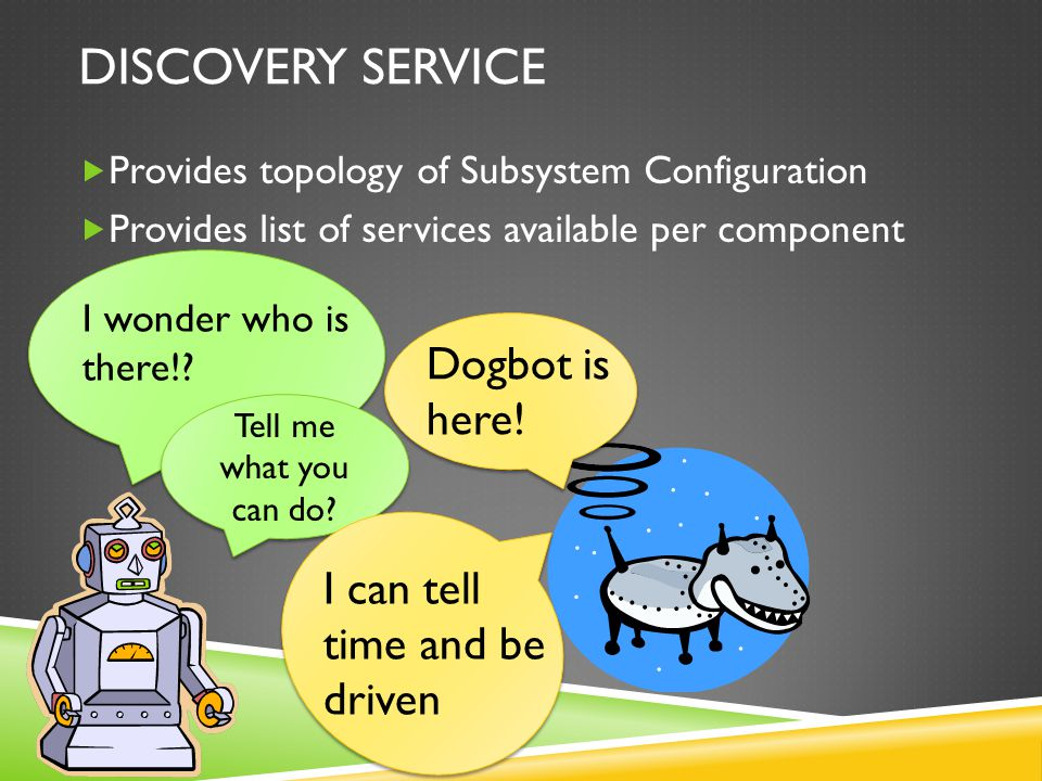 DISCOVERY SERVICE  Provides topology of Subsystem Configuration  Provides list of services available per component I wonder who is there!.