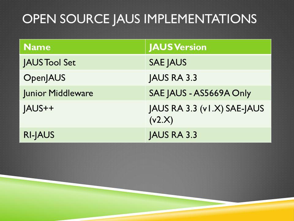 OPEN SOURCE JAUS IMPLEMENTATIONS NameJAUS Version JAUS Tool SetSAE JAUS OpenJAUSJAUS RA 3.3 Junior MiddlewareSAE JAUS - AS5669A Only JAUS++JAUS RA 3.3 (v1.X) SAE-JAUS (v2.X) RI-JAUSJAUS RA 3.3