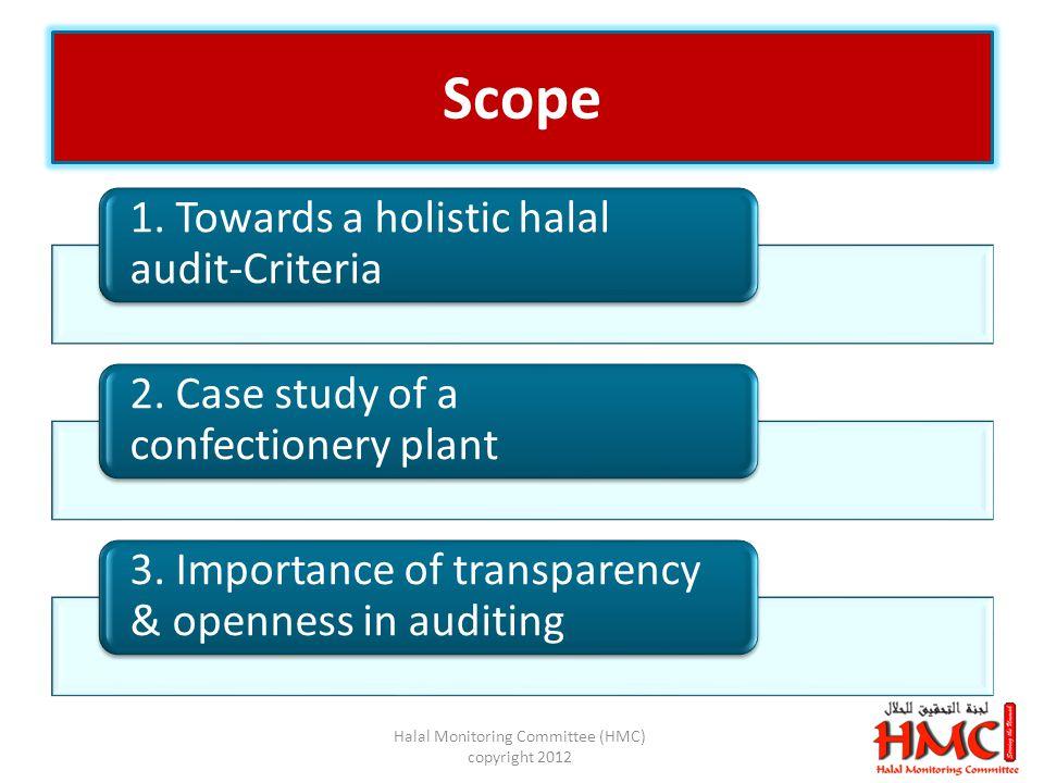 Scope 1. Towards a holistic halal audit-Criteria 2.