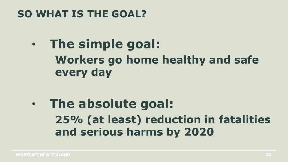 WORKSAFE NEW ZEALAND 22 SO WHAT IS THE GOAL.