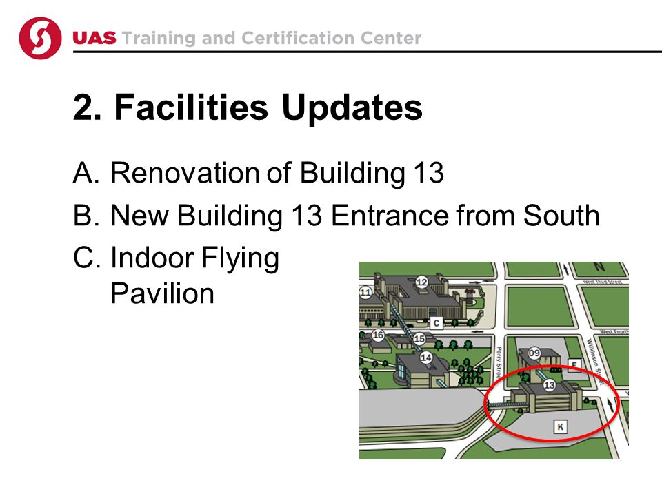 2. Facilities Updates A.Renovation of Building 13 B.New Building 13 Entrance from South C.Indoor Flying Pavilion