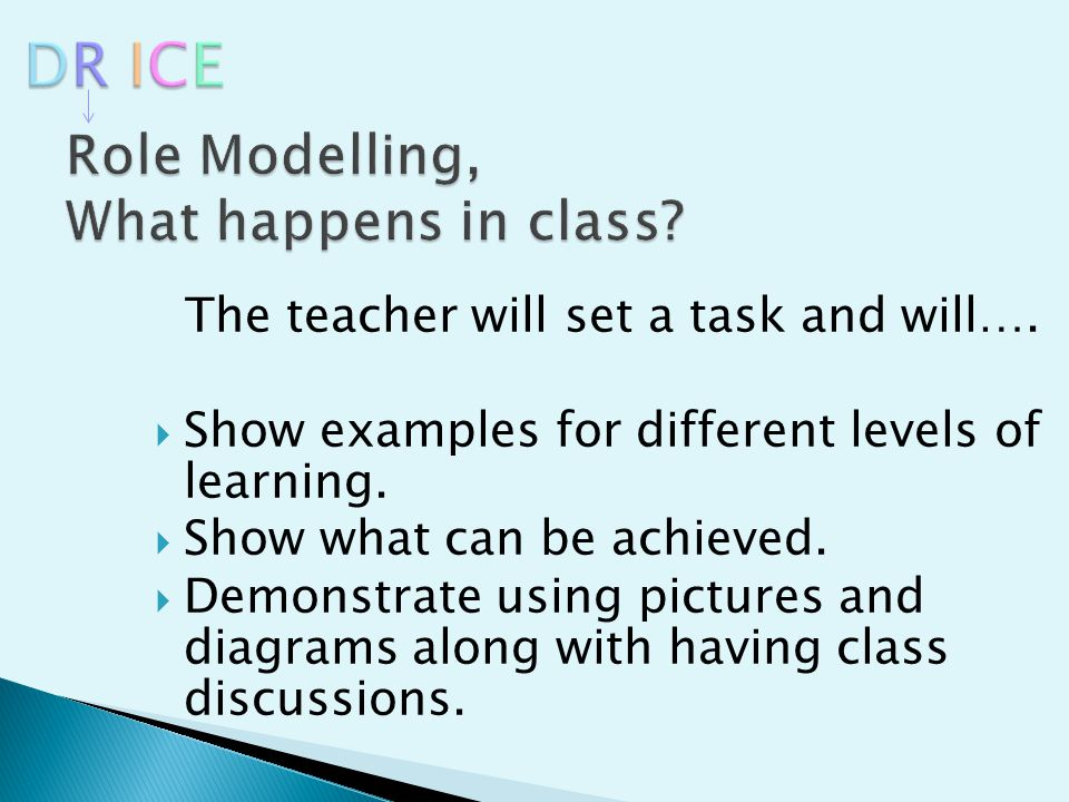 The teacher will set a task and will….  Show examples for different levels of learning.