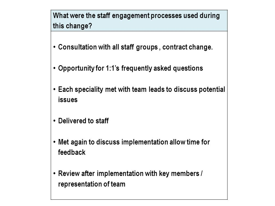 What were the staff engagement processes used during this change.