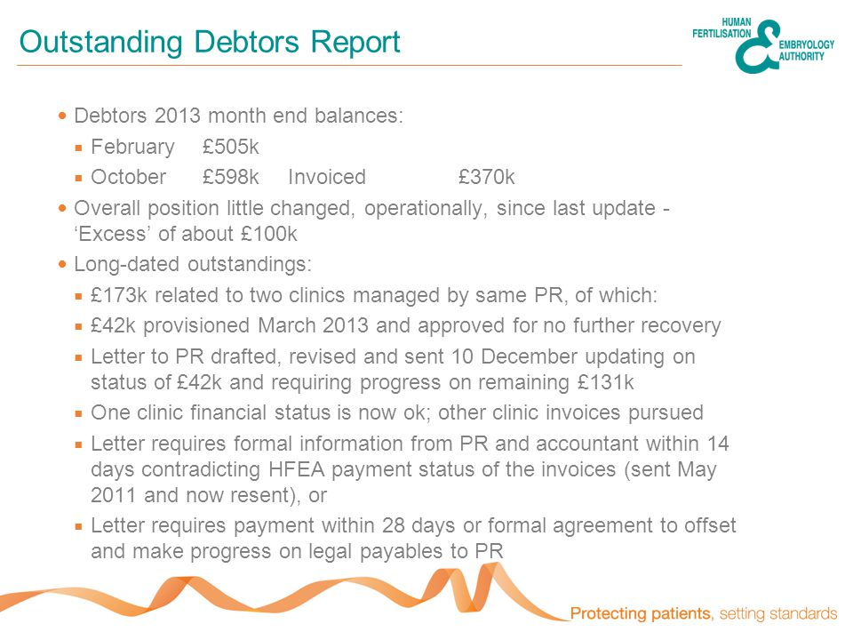 Outstanding Debtors Report Debtors 2013 month end balances:  February£505k  October£598kInvoiced £370k Overall position little changed, operationally, since last update - 'Excess' of about £100k Long-dated outstandings:  £173k related to two clinics managed by same PR, of which:  £42k provisioned March 2013 and approved for no further recovery  Letter to PR drafted, revised and sent 10 December updating on status of £42k and requiring progress on remaining £131k  One clinic financial status is now ok; other clinic invoices pursued  Letter requires formal information from PR and accountant within 14 days contradicting HFEA payment status of the invoices (sent May 2011 and now resent), or  Letter requires payment within 28 days or formal agreement to offset and make progress on legal payables to PR
