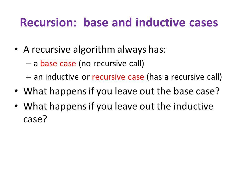 Recursion: base and inductive cases A recursive algorithm always has: – a base case (no recursive call) – an inductive or recursive case (has a recursive call) What happens if you leave out the base case.