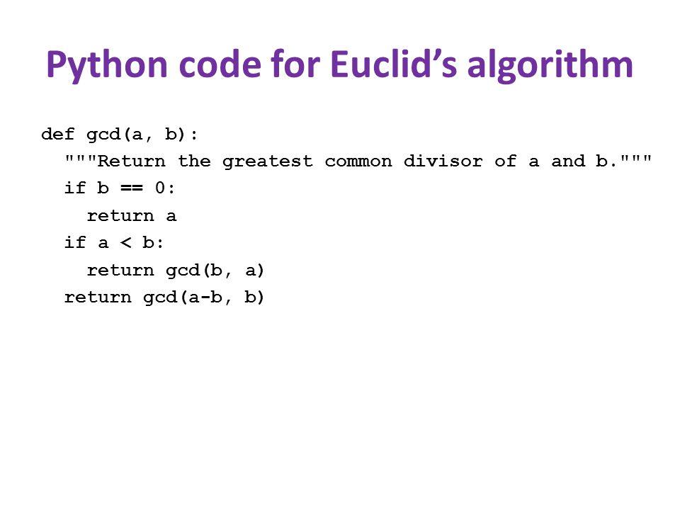 Python code for Euclid's algorithm def gcd(a, b):