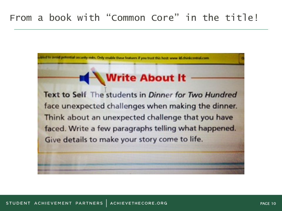 PAGE 10 From a book with Common Core in the title!