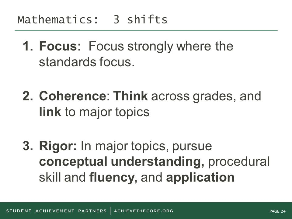 PAGE 24 Mathematics: 3 shifts 1. Focus: Focus strongly where the standards focus.
