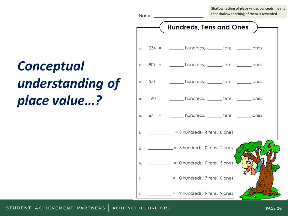 PAGE 26 Conceptual understanding of place value…