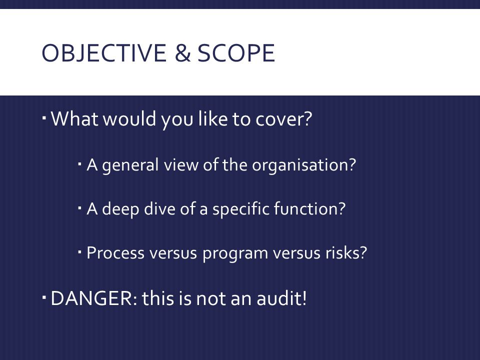 OBJECTIVE & SCOPE  What would you like to cover.  A general view of the organisation.