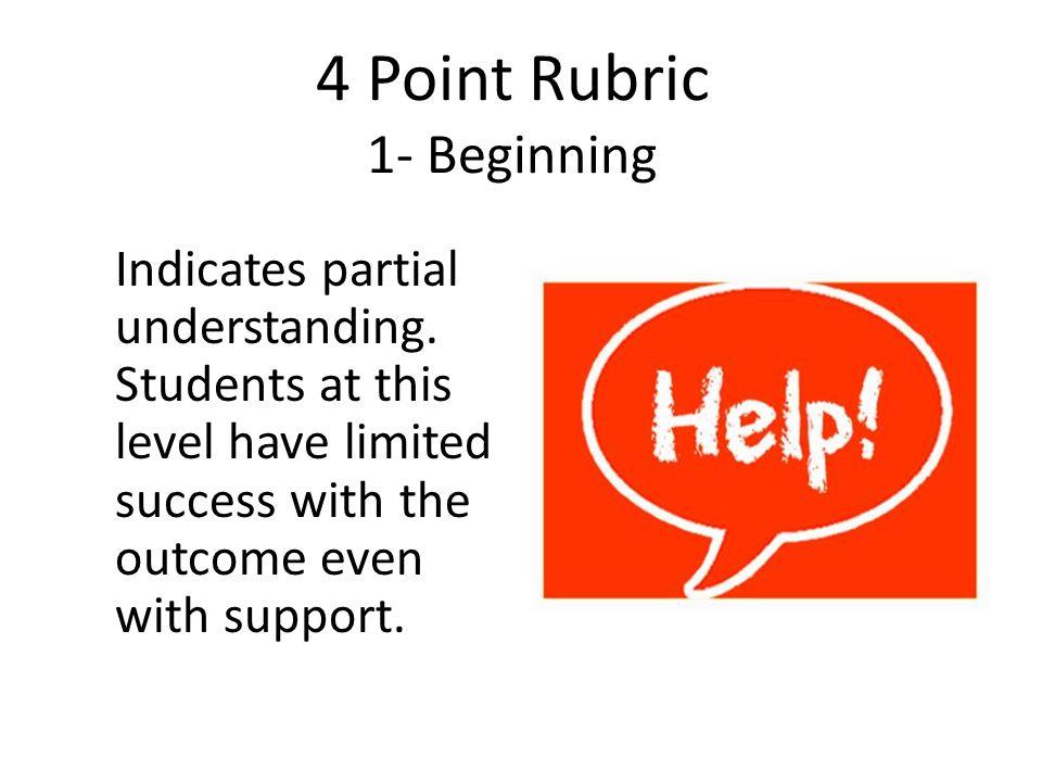 4 Point Rubric 1- Beginning Indicates partial understanding.