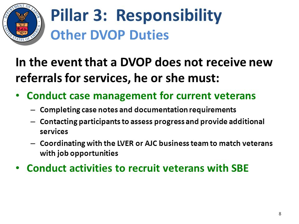 Pillar 3: Responsibility Other DVOP Duties 8 In the event that a DVOP does not receive new referrals for services, he or she must: Conduct case manage