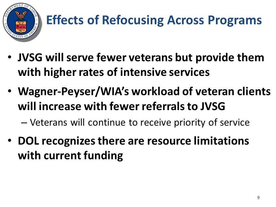 Effects of Refocusing Across Programs JVSG will serve fewer veterans but provide them with higher rates of intensive services Wagner-Peyser/WIA's work