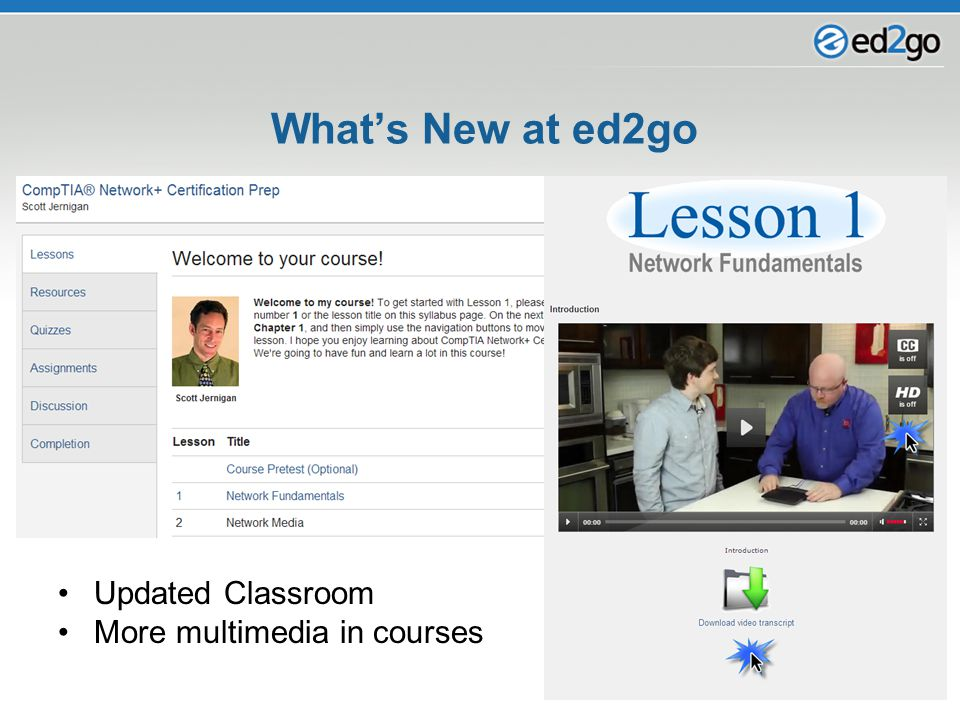 Updated Classroom More multimedia in courses
