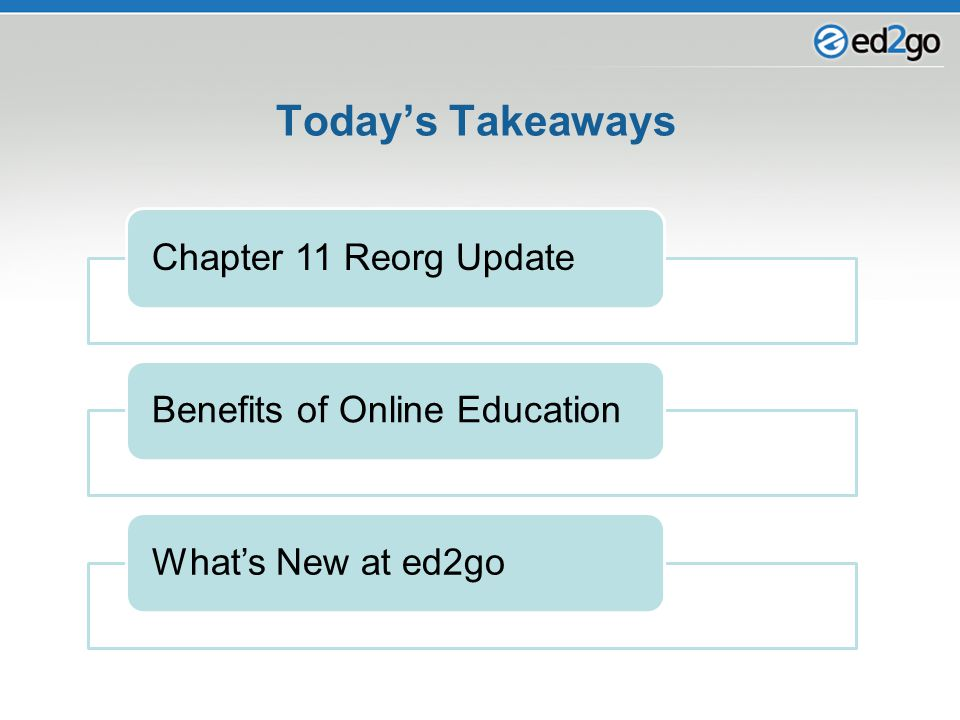 Chapter 11 Reorg UpdateBenefits of Online EducationWhat's New at ed2go Today's Takeaways