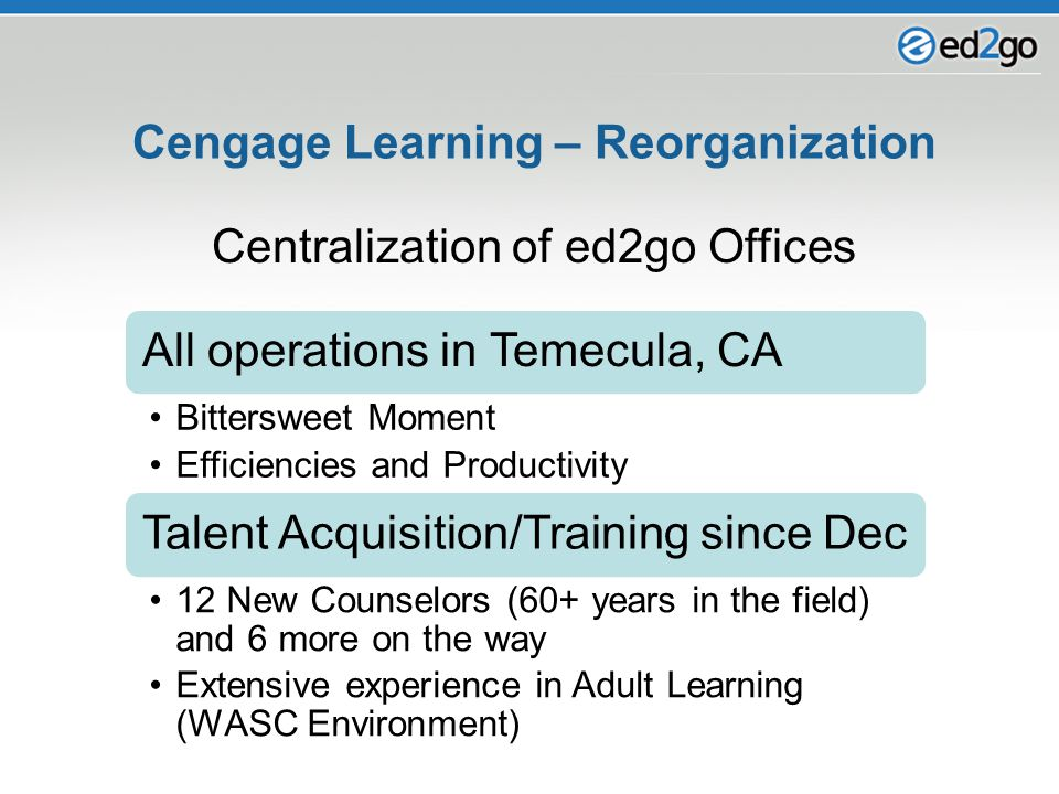 Cengage Learning – Reorganization All operations in Temecula, CA Bittersweet Moment Efficiencies and Productivity Talent Acquisition/Training since De