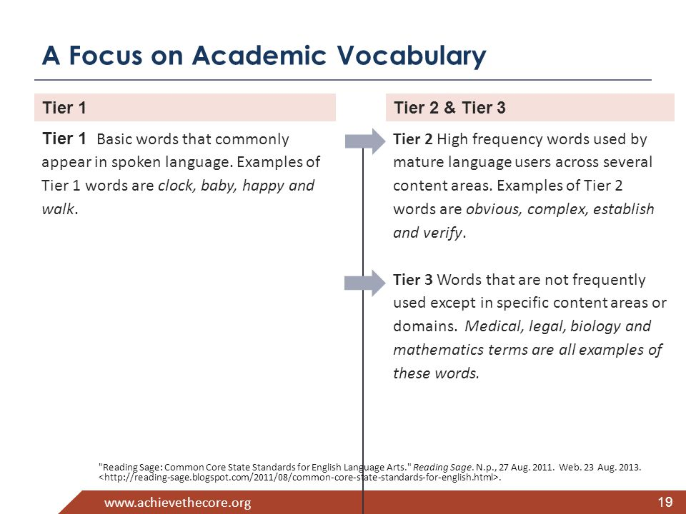 www.achievethecore.org A Focus on Academic Vocabulary 19 Tier 1 Basic words that commonly appear in spoken language.