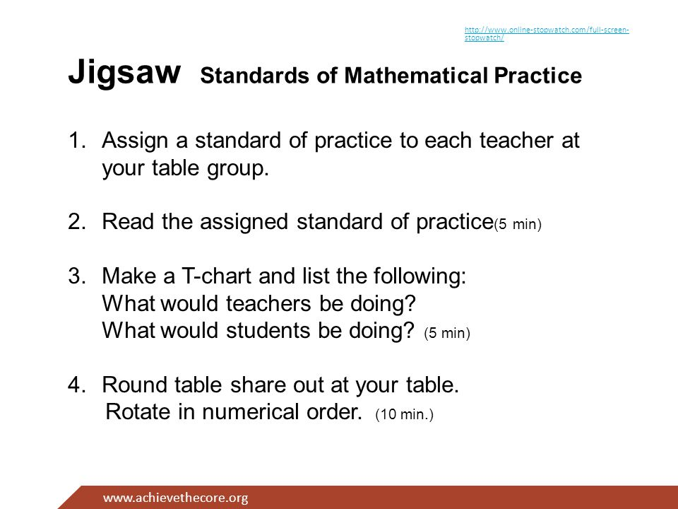 www.achievethecore.org Jigsaw Standards of Mathematical Practice 1.Assign a standard of practice to each teacher at your table group.