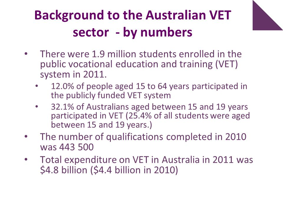 Background to the Australian VET sector - by numbers There were 1.9 million students enrolled in the public vocational education and training (VET) sy