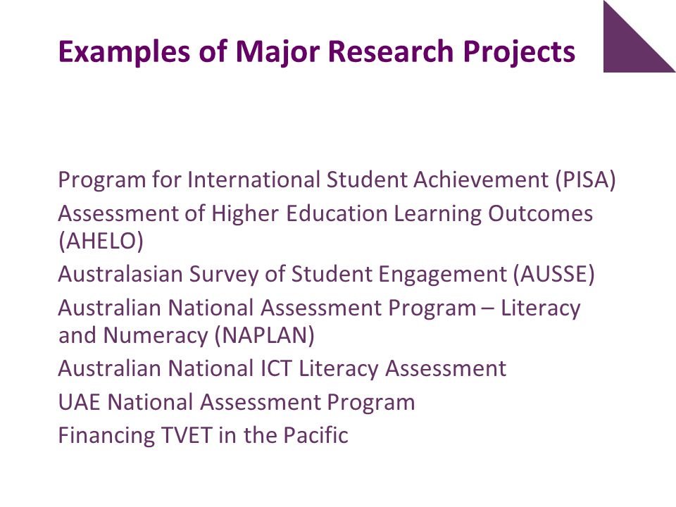 Examples of Major Research Projects Program for International Student Achievement (PISA) Assessment of Higher Education Learning Outcomes (AHELO) Aust
