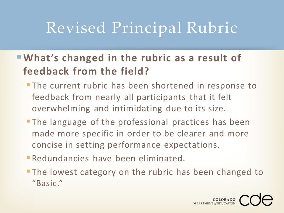  What's changed in the rubric as a result of feedback from the field.