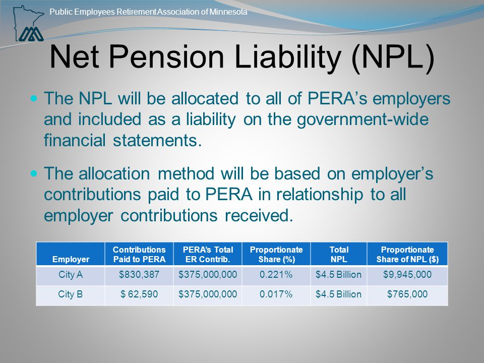 Public Employees Retirement Association of Minnesota Net Pension Liability (NPL) The NPL will be allocated to all of PERA's employers and included as